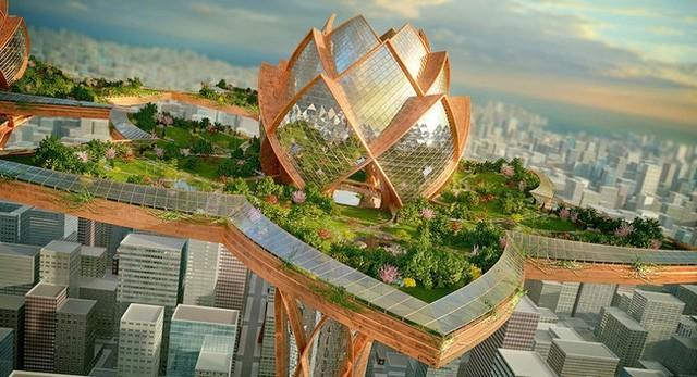 Đây là tổ hợp kiến trúc vô cùng phức tạp, giống như các đài hoa sen nhìn ra bờ sông trong thành phố. Sẽ có công viên và khu vui chơi giải trí và nghỉ dưỡng trên đỉnh của hoa sen.