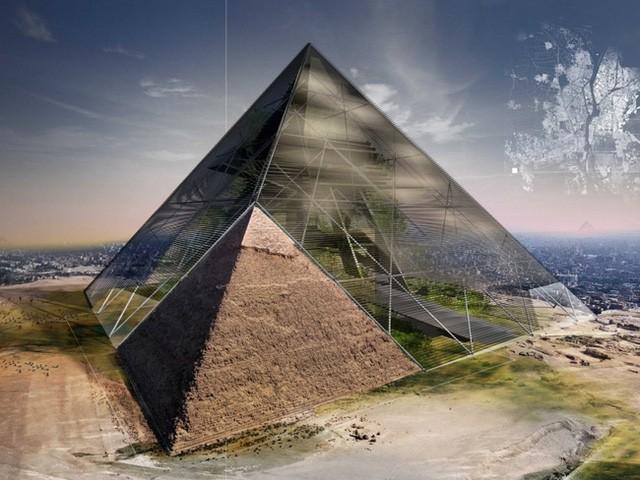 3. Tòa kim tự tháp xanh xây dựng trên nền móng kim tự tháp cổ Ai Cập.