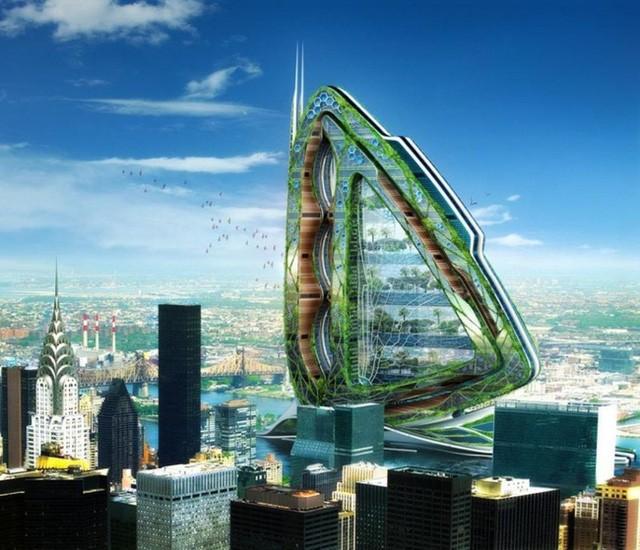 6. Ý tưởng tòa cao ốc xanh Dragonfly tại thành phố New York lại là ý tưởng khác của kiến trúc sư Vincent Callebaut. Khu phức hợp này bao gồm khu sinh thái, khu vực vui chơi giải trí, nhà kính, các trang trại xanh được xây dựng bên trong.