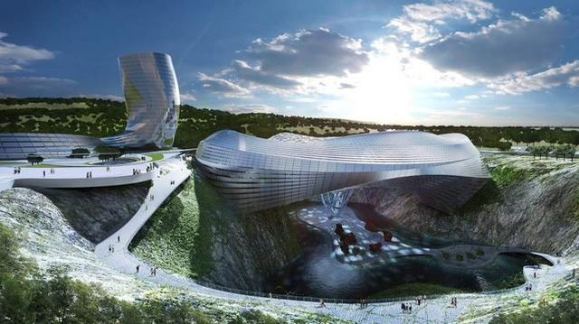 7. Khu nghỉ dưỡng núi Dawang, Trung Quốc lại là một dự án khá thực tế khi đang được hoàn thiện trong tương lai gần. Nhìn từ xa, nơi này trông giống như một trạm không gian trong phim khoa học viễn tưởng sẽ được xây dựng trong tương lai gần. Tòa nhà cao 170m, bao gồm một khu trượt tuyết, một sân trượt băng, công viên nước, vườn treo.