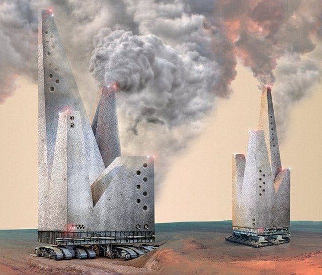 8. Hình ảnh sơ khai về dự án không tưởng - những tòa nhà biết đi trên bề mặt Sao Hỏa. Chúng có thể tự di chuyển độc lập trên khắp bề mặt hành tinh. Chúng còn làm một nhiệm vụ quan trọng là thu thập các yếu tố cần thiết từ bề mặt Hỏa Tinh, chúng tạo ra hiệu ứng nhà kính, do đó làm nhiệt độ sao Hỏa tăng lên, dần dần thích hợp với cuộc sống của con người.
