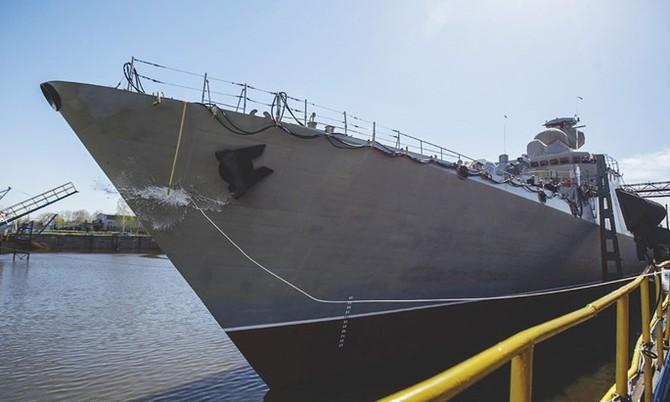 Chùm ảnh và clip tàu Gepard thứ 3 của Việt Nam hạ thuỷ ở Nga - ảnh 4