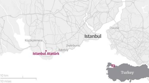 Vị trí sân bay Ataturk, Istanbul, Thổ Nhĩ Kỳ. Đồ họa: Guardian.