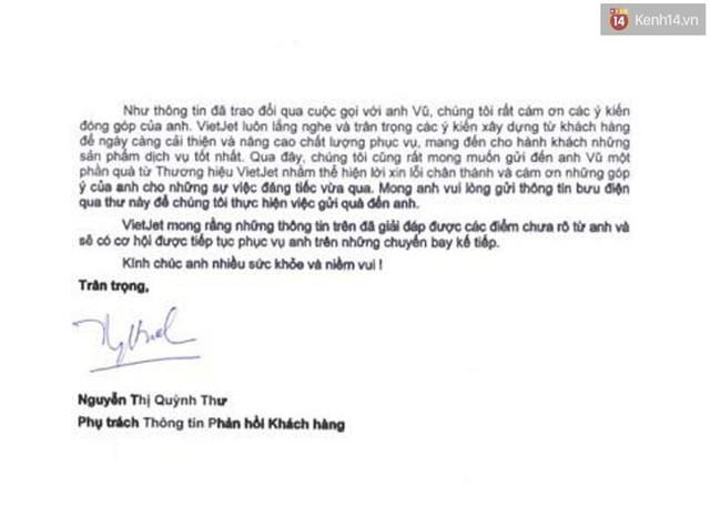Vietjet Air gửi văn bản xin lỗi anh Vũ sau sự cố.