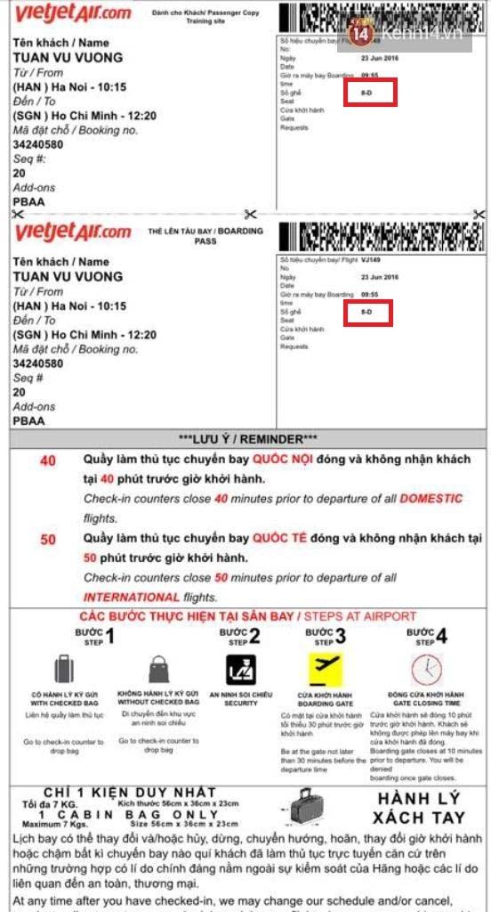 Dù vé ghi rõ số ghế 8D (ô đỏ) nhưng anh Vũ không có ghế ngồi vì bị khách khách ngồi mất khi trên tàu bay.
