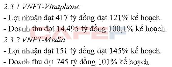 Số liệu của VNPT-Vinaphone và VNPT-Media chỉ phản ánh 6 tháng cuối năm 2015 do mới được thành lập