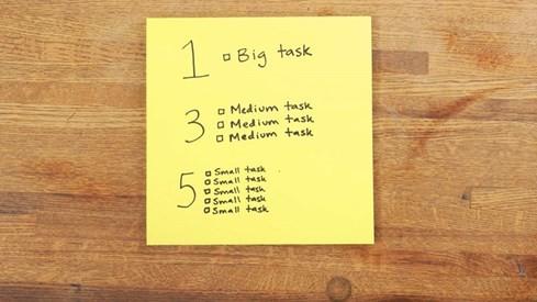 Công thứ 1-3-5 sẽ giúp bạn không bỏ sót những nhiệm vụ quan trọng và giảm tình trạng quá tải cho danh sách. (Ảnh: The Muse)