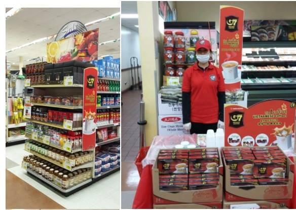 Cà phê hòa tan Trung Nguyên bày bán ở siêu thị nước ngoài