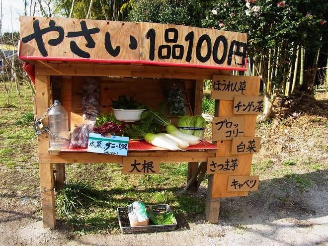 Tấm hình trong biển ghi dòng chữ: &quot;Rau giá 100 Yên/cây&quot;. </div> <div>Đây là cửa hàng của một người nông dân tại tỉnh Kagoshima, thuộc đảo Kyushu miền Nam nước Nhật - Ảnh: AiraKrisma.