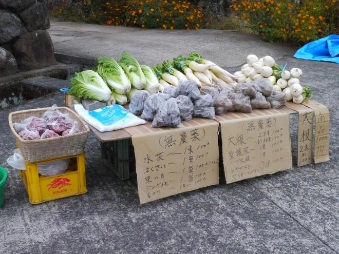 """""""Hoa quả giá siêu rẻ và rất ngon, giá mỗi loại chỉ 100 Yên"""", đó là những lời quảng cáo của một cửa hàng rau không người bán ở thị trấn Yufuin, tỉnh Oita. Ảnh chụp vào tháng 10/2011 - Ảnh: Yufuin."""
