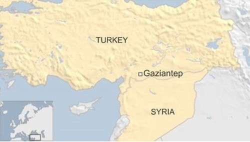 Vị trí thành phố Gaziantep, Thổ Nhĩ Kỳ. Đồ họa: BBC.