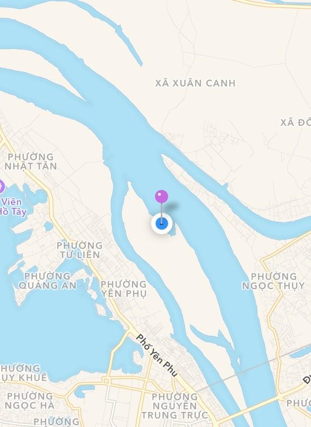 Vị trí của bãi giữa sông Hồng trên bản đồ
