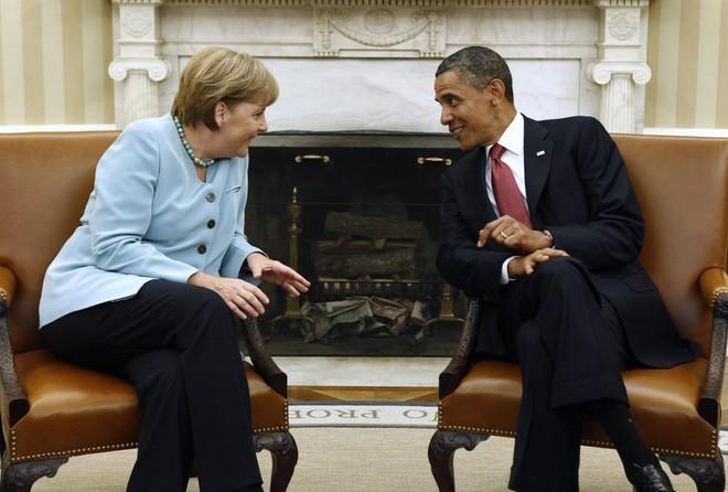 Ông Obama và bà Merkel trong cuộc gặp tại Phòng Bầu dục, Nhà Trắng, ngày 7/6/2011 - Ảnh: Reuters.