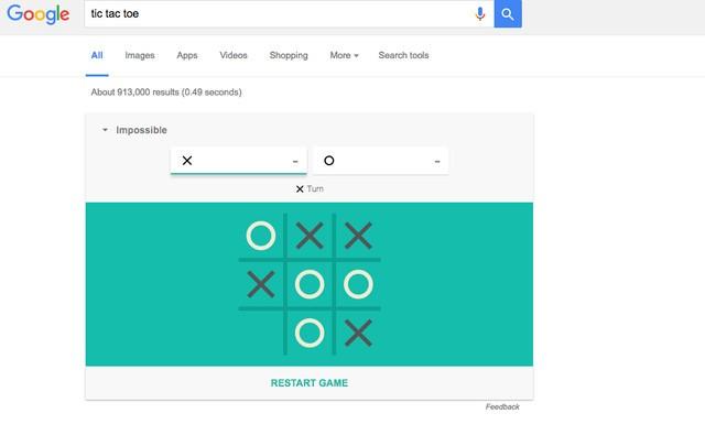 2. Cũng tương tự như trên, nếu tìm tic tac to (tên tiếng anh của trò chơi cờ ca rô), bạn cũng có thể chơi X-O trực tiếp trên trang kết quả tìm kiếm. Muốn tìm được đối chơi cờ ca rô thực thụ? Hãy đặt mức độ khó lên Impossible nhé!