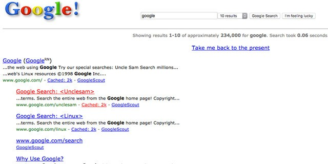 12. Tìm Google năm 1998 sẽ đưa bạn đến trang Google của 19 năm trước cùng với tiểu sử của công ty này.
