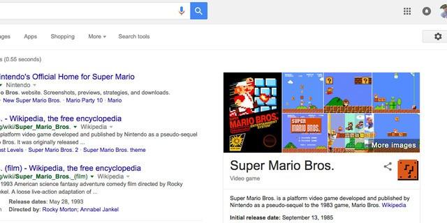 15. Chắc hẳn nhiều thành viên của đội ngũ làm việc cho Google là game thủ. Tìm Super Mario Bros mà xem, hãy ấn vào dấu hỏi ở bên cạnh kết quả hình ảnh. Bạn sẽ nghe được âm thanh ăn tiền quen thuộc của anh chàng thợ sửa ống nước này.