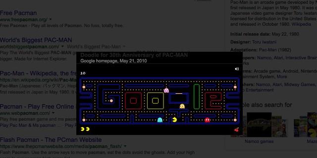 19. Google Pacman sẽ cho bạn chơi trò chơi huyền thoại này bởi họ đã tích hợp nó vào hệ thống Google Doodle từ 2010 để kỷ niệm 30 năm ngày ra mắt trò chơi này.