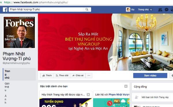 mạo danh facebook, doanh nhân, ông phạm nhật vượng, ông huỳnh uy dũng, Nguyễn Duy Hưng, Nguyễn Quốc Cường, Lê Phước Vũ, Đặng Thành Tâm