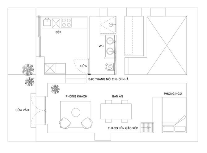 Nhà 45 m2 vẫn bố trí được hai phòng ngủ