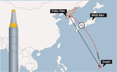 Kế hoạch dùng 4 tên lửa đạn đạo tấn công Guam của Triều Tiên (bấm vào hình để xem chi tiết). Đồ họa: Việt Chung.