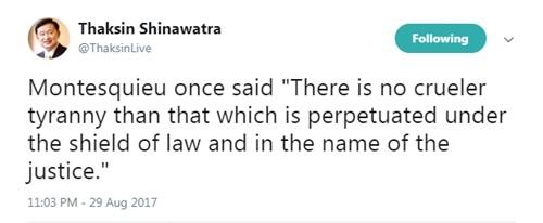 Bài đăng của cựu thủ tướng Thái Lan Thaksin Shinawatra. Ảnh: Twitter/@ThaksinLive.