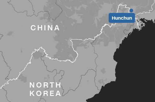 Vị trí của thành phố Hồn Xuân (Hun Chun). Đồ họa: CNN.