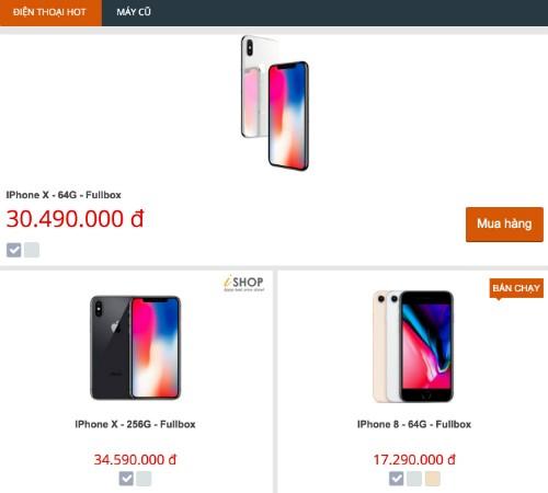Giá iPhone X tại một cửa hàng ở Hà Nội sáng 6/11 đã giảm tới 30 triệu đồng so với ba ngày trước.