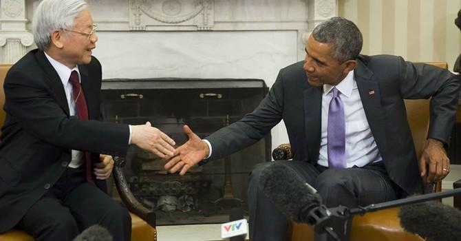 Hình ảnh Tổng thống Obama hội đàm với Tổng bí thư Nguyễn Phú Trọng tại Nhà Trắng