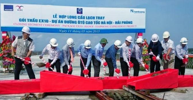 Hợp long cầu lớn nhất cao tốc Hà Nội - Hải Phòng