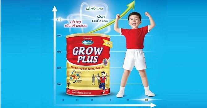 Vinamilk tung sản phẩm Dielac Grow Plus cho trẻ suy dinh dưỡng thấp còi