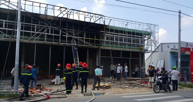Cháy lớn tại công trình đang thi công ở TP Vĩnh Long