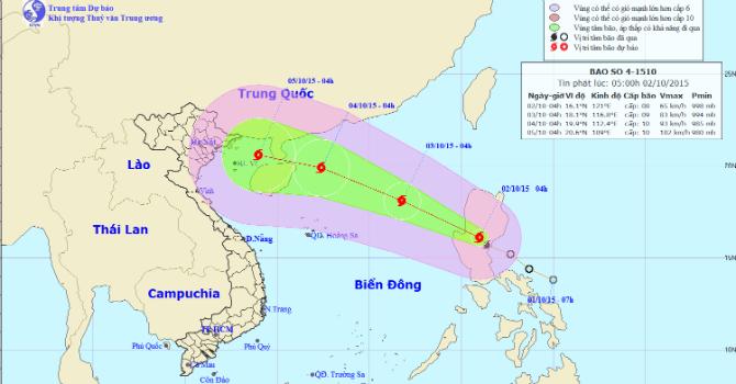 Bão Mujigae mạnh cấp 8 đang tiến vào biển Đông