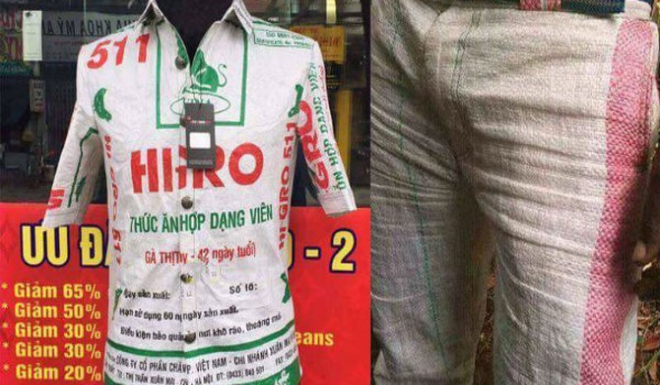Bao tải cám lợn Việt Nam thành thời trang đắt gấp 1.000 lần