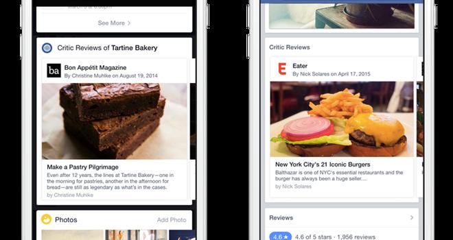 Facebook bổ sung thêm tính năng đánh giá các nhà hàng