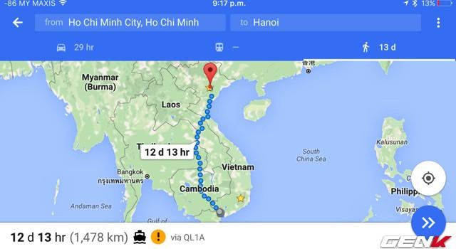 Google Maps chỉ đường đi bộ từ TP.HCM tới Hà Nội xuyên qua... 4 nước