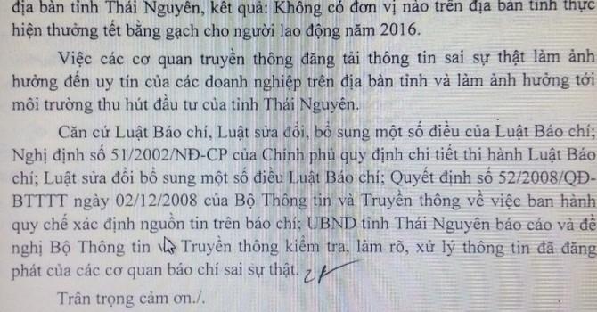 Không có chuyện thưởng Tết bằng gạch tại Thái Nguyên