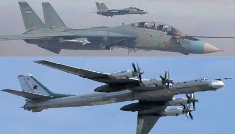 F-14 Tomcat Mỹ hộ tống Tu-95MS Nga phóng tên lửa đánh IS