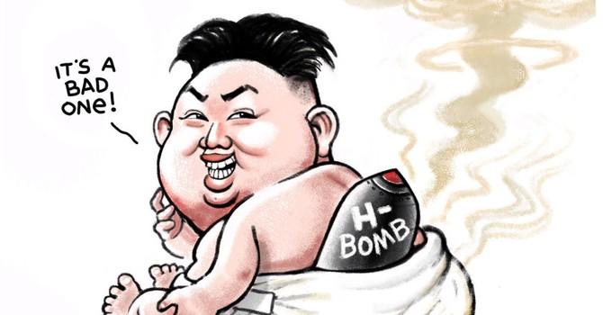 """Biếm họa tuần qua: Bom nhiệt hạch của Triều Tiên và """"bom kinh tế"""" của Trung Quốc"""