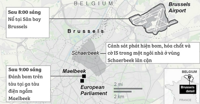 [Infographic] Toàn cảnh vụ đánh bom khủng bố tại Bỉ