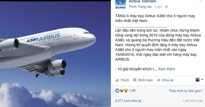 Công nghệ 24h: Sau ô tô, dân mạng lại tiếp tục like ảnh để trúng... máy bay