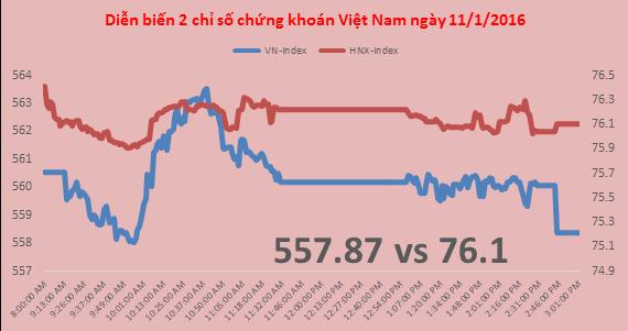"""Chứng khoán chiều 11/1: VN-Index """"thủng"""" mốc 560, HAG vẫn tăng kịch trần"""