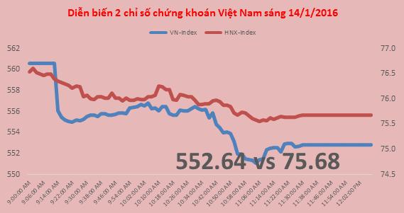 Chứng khoán sáng 14/1: VN-Index có lúc mất gần 10 điểm