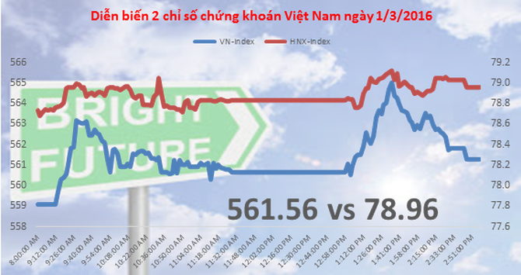 Chứng khoán chiều 1/3: VN-Index bỏ lỡ qua cơ hội phục hồi