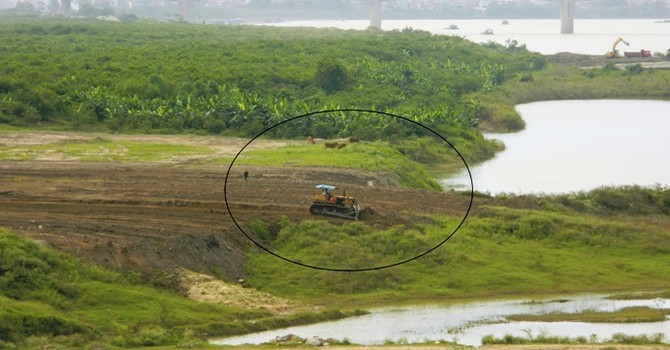 Hành lang thoát lũ sông Hồng vẫn tiếp tục bị san lấp?