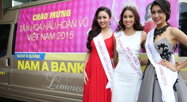 Hoa hậu Hoàn vũ Việt Nam 2015 đến thăm Nam A Bank