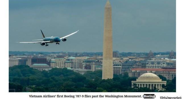 Vietnam Airlines biểu diễn chiếc Boeing mới trên không phận thủ đô Hoa Kỳ