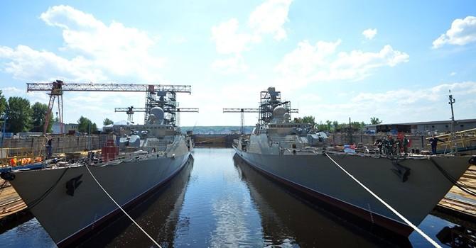 Hình ảnh lễ hạ thủy tàu Gepard mà Nga đóng cho Hải quân Việt Nam