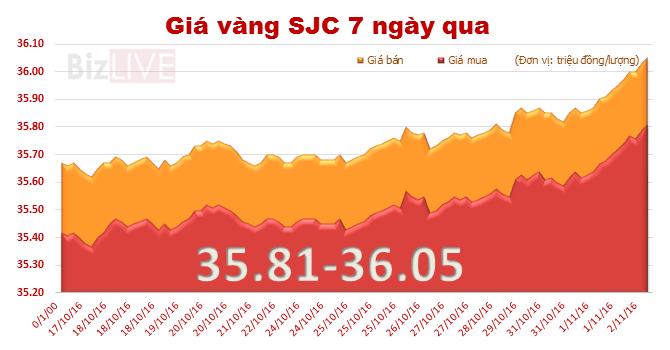 Giá vàng SJC bất ngờ tăng mạnh, lên đỉnh một tháng