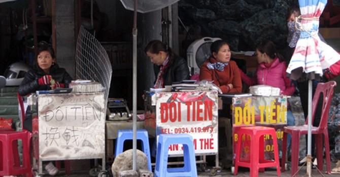 Chợ ngoại tệ biên giới ở Móng Cái