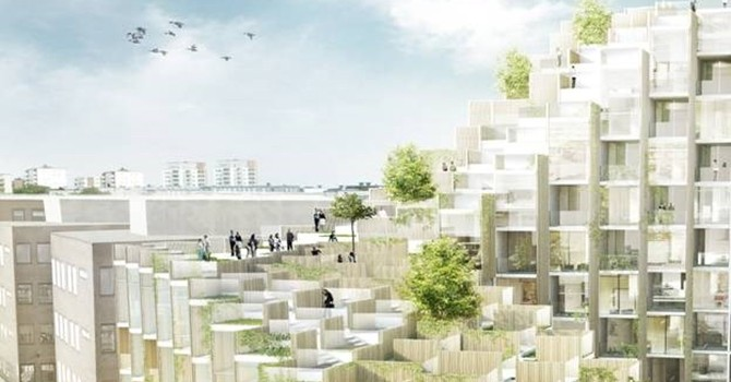 Ngắm khu dân cư hình bậc thang phủ toàn cây xanh trên mái
